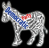 Democratic Party word cloud. American Democratic Party word cloud in shape of donkey symbol, isolated on black background Stock Images