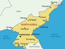 Democratic People's Republic of Korea - map - vector Royalty Free Stock Photo
