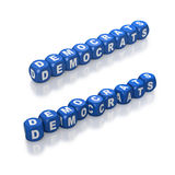 Blue dice text spelling the Democrats Stock Image