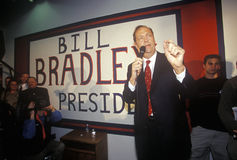 Democratic presidential candidate Bill Bradley addresses a rally of supporters at the Bradley campaign headquarters in Manchester, Stock Photos