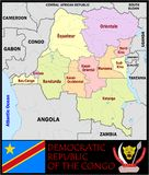 Democratic Rep Congo Administrative divisions Stock Photography