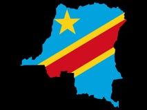 Democratic Republic of Congo. Map of Democratic Republic of Congo and Congolese flag illustration Royalty Free Stock Photos