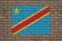 Democratic Republic of Congo. Flag painted on brick wall illustration Royalty Free Stock Photo