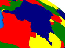 Democratic Republic of Congo on colorful 3D globe Stock Photo