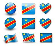 The Democratic Republic of the Congo flag. Set of icons and flags. glossy and matte on a white background Royalty Free Stock Photo
