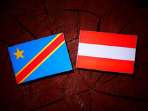 Democratic Republic of the Congo flag with Austrian flag on a tr Royalty Free Stock Images