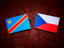Democratic Republic of the Congo flag with Czech flag on a tree Stock Photography