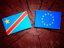 Democratic Republic of the Congo flag with EU flag on a tree stu. Mp isolated Stock Images