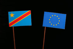 Democratic Republic of the Congo flag with European Union EU flag isolated on black. Background Royalty Free Stock Images