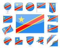 Democratic Republic of the Congo Flag Vector Set. Democratic Republic of the Congo Flag Set - Vector Illustration Stock Photos