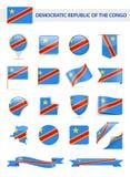 Democratic Republic of the Congo Flag Vector Set. Democratic Republic of the Congo Flag Set - Vector Illustration Stock Image