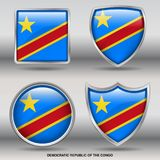 Democratic Republic of Congo Flag in 4 shapes collection with clipping path royalty free stock image