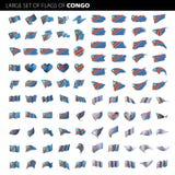 Democratic Republic of the Congo flag. Vector illustration on a white background. Big set Stock Image