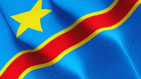 Democratic Republic of the Congo flag waving on wind. Democratic Republic of the Congo background fullscreen flag blowing on wind. Realistic fabric texture on Royalty Free Stock Photo