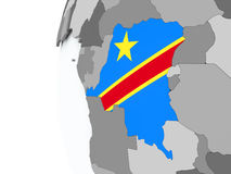 Democratic Republic of Congo on globe with flag Royalty Free Stock Images