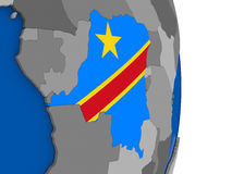 Democratic Republic of Congo on globe with flag Stock Photography