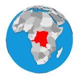 Democratic Republic of Congo on globe. Map of Democratic Republic of Congo highlighted in red on globe. 3D illustration isolated on white background Stock Photo