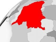 Democratic Republic of Congo on grey political globe Stock Image