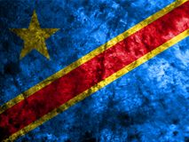 Democratic Republic of the Congo grunge flag on old dirty wall.  Royalty Free Stock Photography
