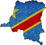 Democratic Republic of the Congo map with flag inside. Illustration Royalty Free Stock Photos