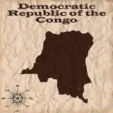 Democratic Republic of the Congo old map with grunge and crumpled paper. Vector illustration Royalty Free Stock Photography