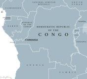 Democratic Republic of the Congo political map Royalty Free Stock Photos