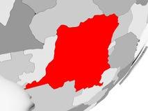 Democratic Republic of Congo in red on grey map. Illustration of Democratic Republic of Congo highlighted in red on grey globe. 3D illustration Stock Photo