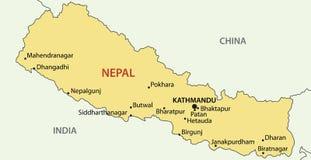 Democratic Republic of Nepal - map - vector Stock Photos
