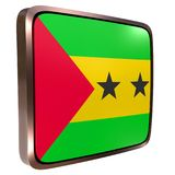Democratic Republic of Sao Tome and Principe flag icon. 3d rendering of a Democratic Republic of Sao Tome and Principe flag icon with a metallic frame. Isolated Royalty Free Stock Images