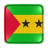 Democratic Republic of Sao Tome and Principe flag icon. 3d rendering of a Democratic Republic of Sao Tome and Principe flag icon. Isolated on white background Stock Image