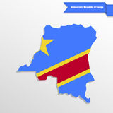 Democratic Repuplic of Congo map with flag inside and ribbon Stock Photos