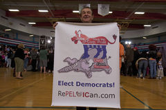 Democratic supporter hold banner Stock Photo