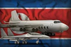 Democratisch de Luchtmachtconcept van de Volksrepubliek van Korea Noord-Korea op de de vlagachtergrond van de staat 3D Illustrati Stock Foto