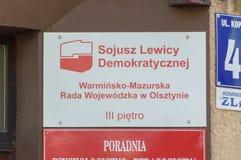 Democratisch Linkeralliance Pools: Sojusz Lewicy Demokratycznej, SLD-bureau in Olsztyn stock foto's