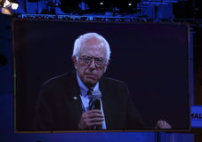 Democratisch presidentieel hoopvol Bernie Sanders spreekt in Des Moines, Iowa stock afbeeldingen