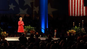 Democratisch presidentieel hoopvol Hillary Rodham Clinton spreekt in Des Moines, Iowa royalty-vrije stock foto's