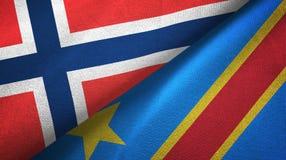 Democratische Republiek twee van Noorwegen en van de Kongo vlaggen textieldoek royalty-vrije illustratie