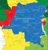 Democratische Republiek van de kaart van de Kongo (vroeger Zaïre) Royalty-vrije Stock Afbeeldingen