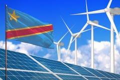 Democratische Republiek van de Kongo zonne en windenergie, duurzame energieconcept met zonnepanelen - duurzame energie tegen glob royalty-vrije illustratie