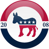 Democrats in 2008. Election themed round button with 3d effect, Democratic party logo - clipping path included vector illustration