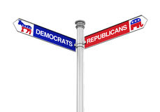 Democrats Republicans Direction Sign Stock Photography