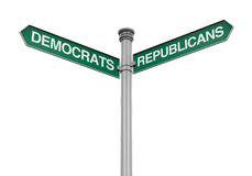 Democrats Republicans Direction Sign Royalty Free Stock Photo