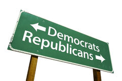 Democrats, Republicans - road-sign. Isolated on white background. Includes Clipping Path Stock Images
