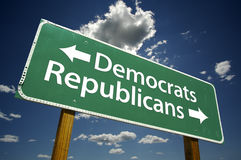 Democrats, Republicans - road-sign. Isolated on white background. Includes Clipping Path Stock Photo