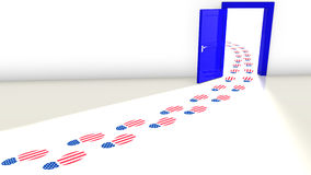 The democrats win the election door concept. 3D illustration of the election in the USA with a blue open door for the democrats and a track of footsteps with an Royalty Free Stock Photography