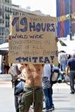 Democrazia reale ora, Barcellona, Spagna Fotografie Stock Libere da Diritti