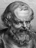 Democritus. (460BC-370BC) on engraving from 1788 Stock Images