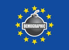 Demographic bomb or threat in eu. European union flag concept Royalty Free Stock Photo