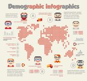 Demographic infographic with people. Icons and charts. Word map with information vector elements, illustration globe with diagram in flat business colors for Stock Photos