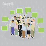 Demographic infographics. Crowd with speech bubbles Royalty Free Stock Images